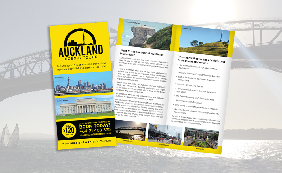 AUCKLAND SCENIC TOURS<br><small>DL trifold leaflet design</small>